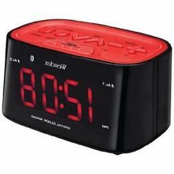 """Westclox 1.2"""" Bluetooth Digital Tune FM Dual Alarm Clock Rad"""