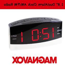 """Magnavox 1.8"""" LED AM/FM Dual Alarm Clock Radio"""