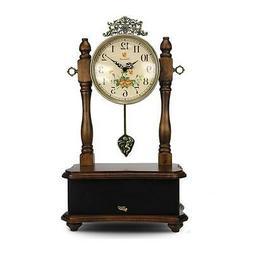 Pyle 2-in-1 Vintage Style Clock, Retro Bluetooth Speaker, Ta