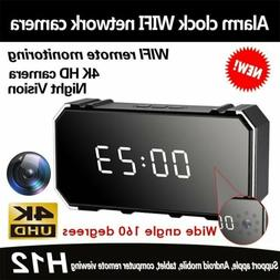1080P Wifi 4K Spy Hidden Camera Alarm Clock DVR IR Motion De