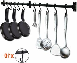 10Hooks Wall Mounted Pan Pot Rail Rack Kitchen Utensil Organ