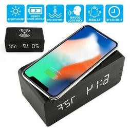 Alarm Clock MDF+PVC Black Home Decor Qi Wireless Charger Cha