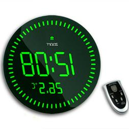 12'' Round Large LED 3D Display Digital Wall Clock with Temp