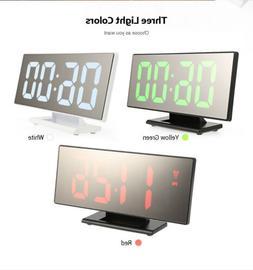 12h/24h Digital Mirror Surface Alarm Clocks LED Display For