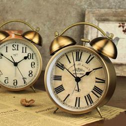 1pc Alarm Clock Metal Round Bell Alarm Clock for Living Room