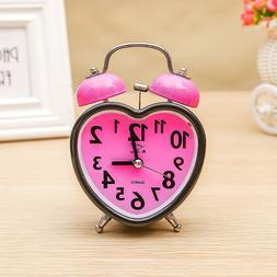 1Pc Bell Alarm Clock  Heart Shape Double Bell Alarm Clock fo