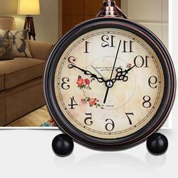 1pc Decorative Vintage Style Retro Silent Desk Alarm Clock T