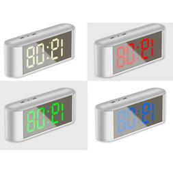 1pc Dimmable Mirror Clock with Temperature Snooze for Bedroo