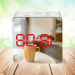 1Pc Multi-funtional Mirror Clock with Temperature for Bedroo