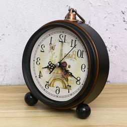 1Pc Retro Decorative Antique Silent Alarm Clock Table Clock
