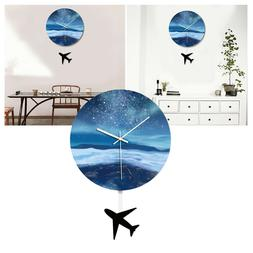 1PC Round Wall Clock Acrylic Wooden Clock for Office Living