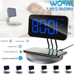 Mpow 2 IN 1 Alarm Clock 5W Wireless Phone Charging PAD Dual
