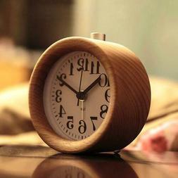 2018 Round-Shape Natural Analog Wood Clock Wooden Alarm Desk