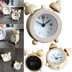 2019 New Portable Cute Mini Classic Round Wood Alarm Clock F
