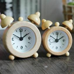 2019  Portable Cute Mini Classic Round Wood Alarm Clock For