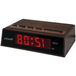 """NEW Westclox 22690 .6"""" Retro Wood Grain Led Alarm Clock"""