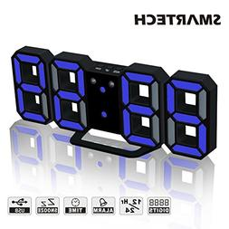 3D LED Digital Alarm Clock Easy To Read at Night, Silent Clo