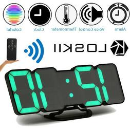 Loskii Digital 3D LED Wall Desk Clock Alarm Clock Snooze 12/