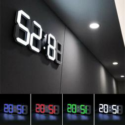 3D Display Digital LED Digit Desk Wall Clock Alarm Snooze US