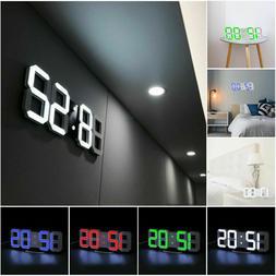 3D LED Wall Clock Modern Digital USB Large Alarm Clock Snooz