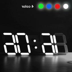 3D Modern Design Digital Led Wall Clock Alarm Table 12/24 Ho