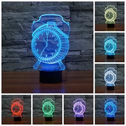 Geekercity 3D Optical Illusion Desk Lamp Night Light, 7 Colo