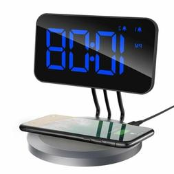 """4.7"""" HD Digital Alarm Clock 5W Qi Wireless Charger For iPhon"""