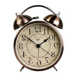 4 inch Antique Silent Small Decorative Desk Alarm Clocks Non