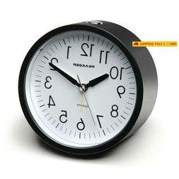Peakeep 4 Inch Round Silent Analog Alarm Clock Non Ticking,