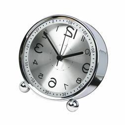 4-inch Table Clock Ultra-quiet Metal Small Alarm Clock, Clas