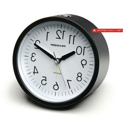 Peakeep 4 Inches Round Silent Analog Alarm Clock Non Ticking