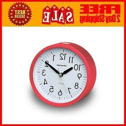 4 Inches Round Silent Analog Alarm Clock Non Ticking, Gentle