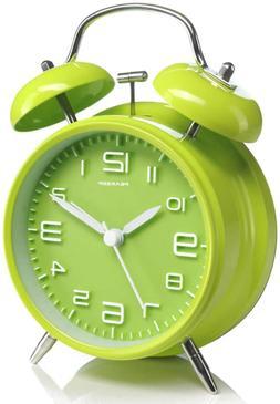 Peakeep 4 inches Twin Bell Green Alarm Clock, Battery Operat