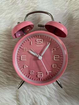 Peakeep 4 inches Twin Bell Pink Alarm Clock, Battery Operate