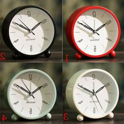 4'' Round Non-Ticking Analog Table Alarm Clock for Bedrooms