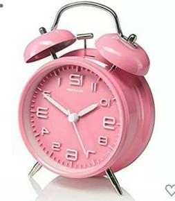 4 twin bell alarm clock pink