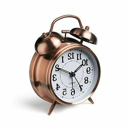 "Peakeep 4"" Twin Bell Alarm Clock  Red-brown 4"""