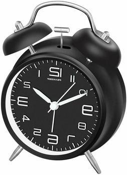"Peakeep 4"" Twin Bell Alarm Clock with Stereoscopic Dial Batt"