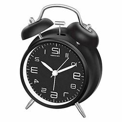 """Peakeep 4"""" Twin Bell Alarm Clock with Stereoscopic Dial, Bac"""
