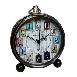 5.5 inch Vintage Silent Tabletop Alarm Clock Small Decorativ