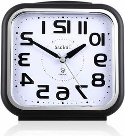 "5.5"" Silent Analog Alarm Clock Non Ticking, Gentle Wake, Bee"