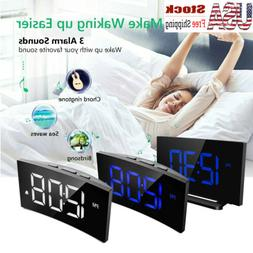 "5"" LED Digital Alarm Clock 12/24 Hour Switchable Curved Scre"