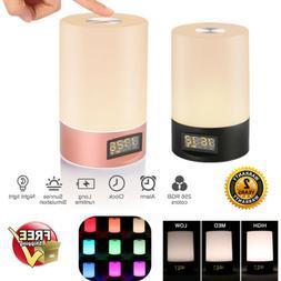 6 Sound Touch Wake Up Light Alarm Clock LED Night Light Lamp