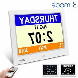 7.5 Inch Digital LCD Alarm Clock Dementia Clock with 3 Inter