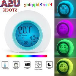 7 Color Changing LED Digital Alarm Clock Snooze Home Decor F