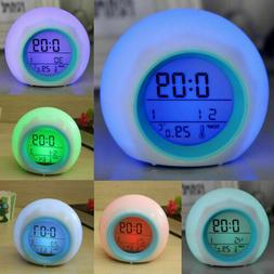 7 Color Changing LED Digital Alarm Clocks Snooze Light Home