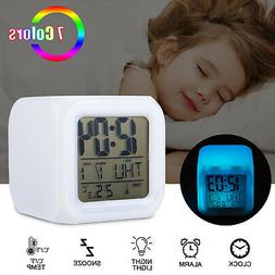 7 Color Glowing Change Alarm Clock Digital Clock Thermometer