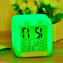 7 Color LED Change Digital Glowing Alarm Clock Night Light f