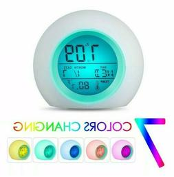 7 Color LED Change Digital Glowing Alarm Clock Night Light S