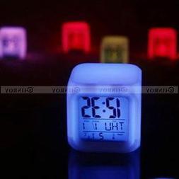 7 Color LED Changing Glow Alarm Clock Bedroom Digital Termom